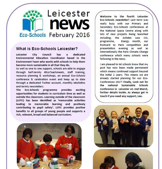 Screenshot of our eco-schools newsletter