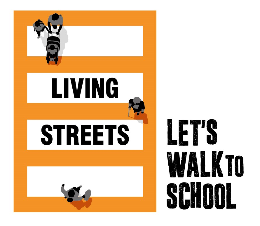 Living streets - let's walk to school logo