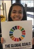 "RCE-EM  Girl holding a sign which says ""The Global Goals"""