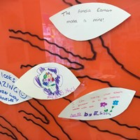 "Global Goals 2017 - 8 Handwritten notes from children about the showcase, ""The Amelia Earhart model is mine!"", ""This looks AMAZING! Leicester lucky to have Lee"", ""I like seeing what schools in Leicester do to be involved with eco"""