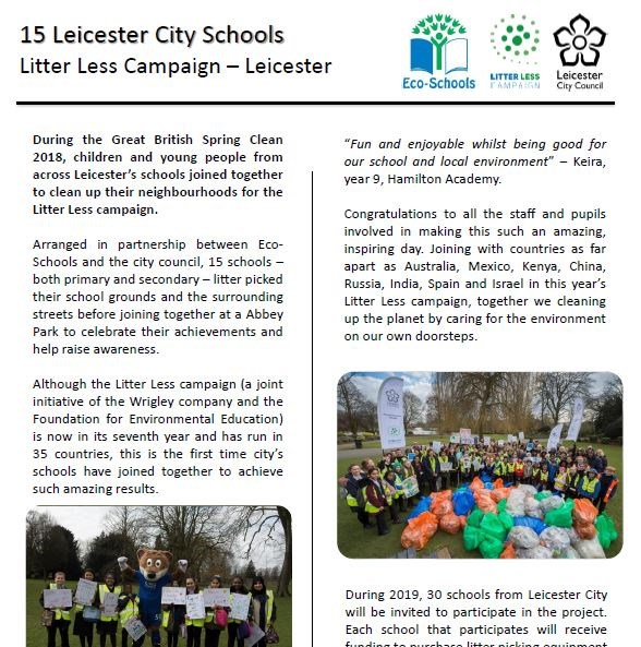 Litter Less Campaign - Eco-Schools LitterLess Campaign - Leicester