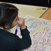 English Martyrs 7 Child from English Martyrs School writing on a big mind map