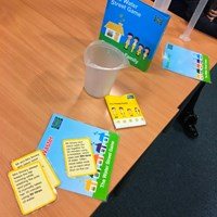 Rushey Mead 5 Activity cards set out on a table